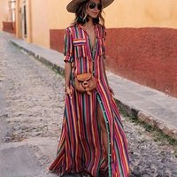 2019 New Design Women Boho Bohemian Striped Print Summer Sleeveless Tank Long Maxi Party Dress