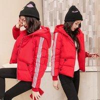 Women cotton coat short hooded winter large size loose down cotton clothes jacket