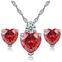 Stock Lovers Gift True Heart Shape Necklace Earring Jewelry Set