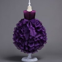 Embroidered kids evening party dress Girl Bridesmaid gown purple Long tailed cocktail dress