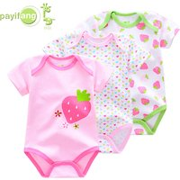 Payifang new born babys clothes romper 3pcs set short sleeved summer baby suit ropa de bebe newborn baby clothing