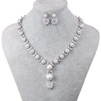 New Arrival Cubic Zirconia and Shell Pearl Necklace Earring Jewelry Set for Wedding Bride or Bridesmaid