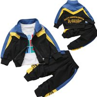 preppy style 2pcs toddler boys cotton clothing set  outfits coat and long pants sports autumn clothing set