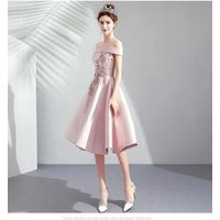C1979 Off Shoulder Pink Cocktail Dresses Satin Lace Appliques Simple Short Bridesmaid Evening Dress Party gowns