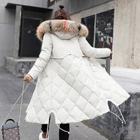 Womens Winter Warm Down Coat Faux Fur Hooded Parka Puffer Jacket Long Overcoat