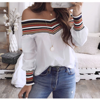 Women Autumn Casual Multicolor Long Sleeve Off Shoulder Top Blouse blusas mujer de moda  plus size