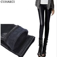 Super Thick Black Leather Winter Leggings New Design Womens Warm Plush Casual Skinny Trousers Ex-factory Price