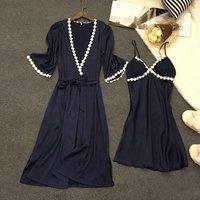 Two-piece Satin Pajamas Set Soft Robe and Sleeping Dress Silk Lace Trim Sleepwear