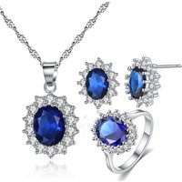 Kate Princess Marriage Jewellery Set oval zircon necklace earrings ring Jewelry sets Adjustable ring