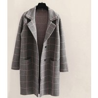 High quality two button plaid pattern design grey knitted cashmere women blazer Cardigan sweater coat thick top