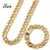 Gold Plated Iced Out Cuban Link Gold Chain Necklace Bracelet Hiphop Men Jewelry Set
