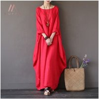 2019 spring summer new womens clothing plus size solid color maxi linen red dress