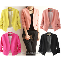 2015 Spring and Autumn Fashion Candy Color Slim Short Women Blazer