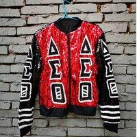 Custom New Hip Hop Short Sleeve Red Black Casual Sequin Bling Women Delta Sigma Theta Sequin jacket jumper