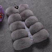 Russia style wholesale women winter fake fur coat girls white faux fox/rabbit fur vest