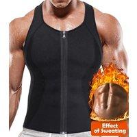 Men Neoprene Hot Sauna Sweat Suit Zipper Compression Tank Top Shirt Weight Lost Waist Trainer Vest Slim Belt Workout Breathable