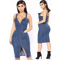 Ebay hot sale skinny tight stretch denim braces skirt sexy jean dress women