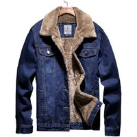 IN-Stock product fashion warm high quality fur denim winter men jeans jacket