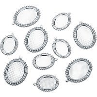 10pcs Stainless Steel Oval Necklace Pendant Cabochon Cameo Base setting Blank Cabochon Settings