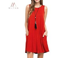 Women Summer Sleeve Casual T Shirt Beach Cover up Plain Pleated Tank Dress