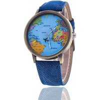 Popular World Map Watch Travelling Airplane Watch Demin Strap Women Wrist Watch Cheap Stock Wholesale