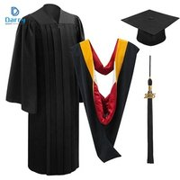 Latest Hot Style Design with Stole and Hood Black Graduation Dress Gown