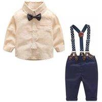 New Born Baby Suit for Boys School Student Dress Infant Clothing Boy Gentleman Set Kids Shirt Pants Bowtie Performance Costumes