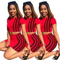 Y1020 womens fashion red mini skirt and crop top two piece set