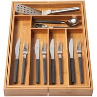 Bamboo drawer organizer Kitchen Adjustable Drawer Divider Expandable Cutlery Tray Utensil Storage Organizer