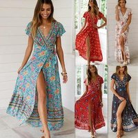 High Quality Summer Women Sky Blue V Neck Beach Resort Floral Printed Maxi Dress Bohemian Wrap Split Maxi Party Dress 30% off