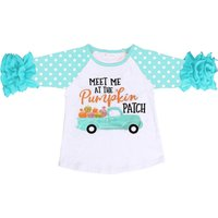2019 Baby Meet Me At the Pumpkin Patch Shirt Wholesale Baby Boutique Clothing Icing Ruffle Shirt Girls 3/4 Sleeve Tops