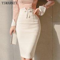 Office Lady High Waist Bow Detail Midi Skirts Sexy Middle Slit Back Pencil Skirt New Slim OL Skirt EGY977