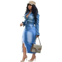 Button Bodycon Womens Denim Skirt Vintage Ladies High Waist Ripped Jeans Skirts Casual Plus Size Summer Y11361