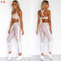 Womens Crop Top Yoga Pants Gym Workout Outfit Set Athletic Apparel
