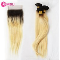 1b/613 Straight Ombre Color Blonde Weave Brazilian Virgin Cuticle Aligned Remy Human Hair Extensions Golden Bundles With Closure