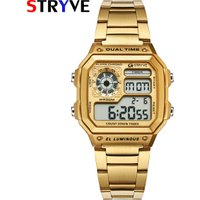 Stryve Luxury Count Down Led Clock Retro Square 50m Waterproof Stainless Steel Sport Digital Men Wrist Watch relogio masculino
