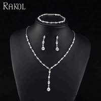 RAKOL simple style beautiful leafandteardrop zircon dangle long earrings necklace bracelet set S412