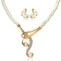 JHZS0055 Womens 2 Pack Simulated Pearl Beads Beaded Pendant Necklace Earring Jewelry Set for Wholesale