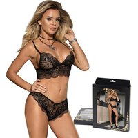 Drop ship eyelash lace sexy leather plus size bra and panties set