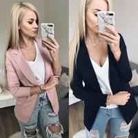 New Women Solid Slim Blazers Jackets Coat Office Lady OL Suit Pink Black None Button Business female blazer