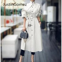 High fashion stand collar office lady long trench dress Black white elegant fall coats