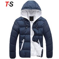 Men Jacket Coat With Hat Winter Candy Color Warm Thick Parka Fashion Cotton Casual Outwear