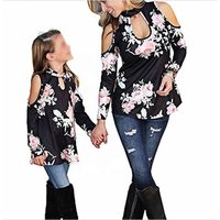 Matching outfits clothes mommy and me women off shoulder tops family lace up blouses floral tunic shirts