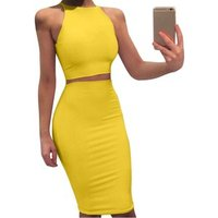 6 Color Two Piece Bodycon Pencil Set Short Tank Top And Knee Length Skirt Set Sexy Slim Fit Outfits For Summer Women Clothing