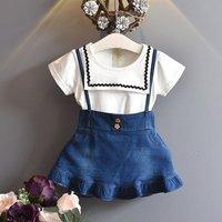New Girls summer denim casual overalls dress set/ Kids summer t shirt clothing set