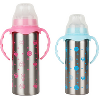 240 ML Feeding Bottle with Nipple BPA Free Stainless Steel Tumbler with Straw Baby Bottle with Double Handle