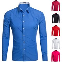 New Men Business Casual Solid Color Long Sleeved  Slim Fit  Dress Shirt with wholesale price