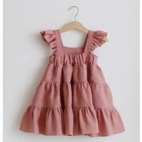 2019 kids latest best selling fashion new design wholesale ruffle tiered fashion dress skirt baby princess cotton linen dress