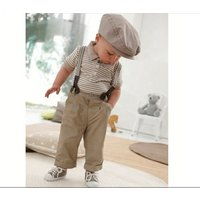 New boys baby clothes toddler set gentleman striped suit kids childrens boys clothing