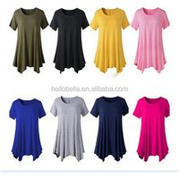 Women Short Sleeve Cotton Tunic Tops